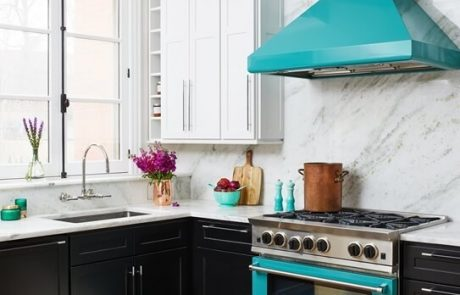 Every BlueStar® kitchen hood can be painted in over 1,000+ colors and finishes or built with 13 different metals. Photo, courtesy Elena Eskandari and Elle Hunter Designers.