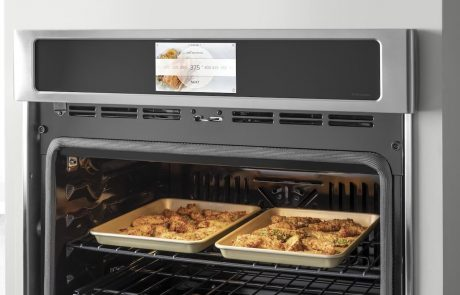 GE's Hot Air Fry mode directs intense heat and high-speed air around the food during the multi-stage cooking cycle and a camera on the oven allows the cook to take a peek remotely.