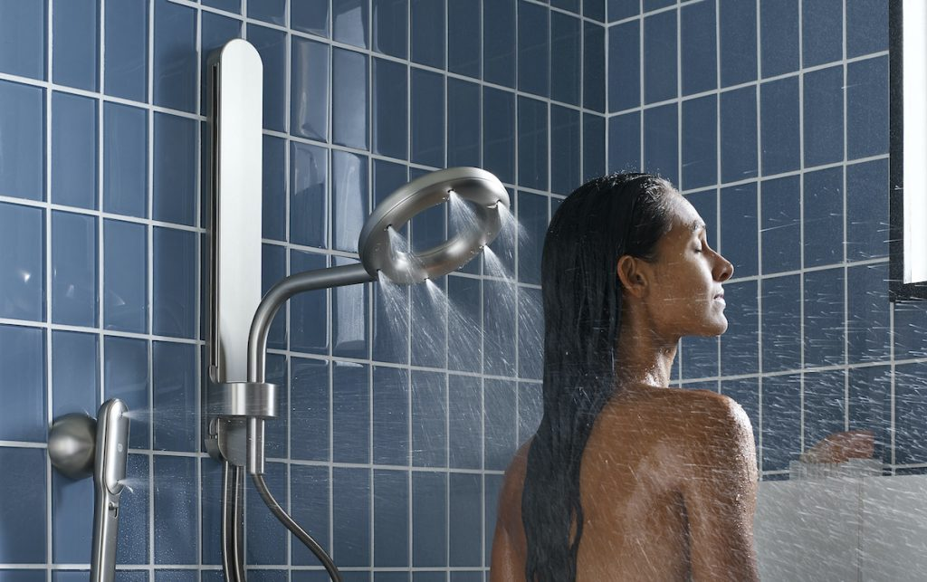 Nebia by Moen™ offers a superior shower experience through atomization, the process of breaking up water into tiny droplets, offering twice the coverage while using almost half the water.