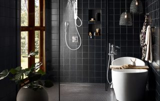 tatement-making design in baths is open concept and brings the outdoors in. Curbless showers with infinity drains, the ability to customize faucet and spray selections, and the inclusion of a tub in the master suite are all selling points.